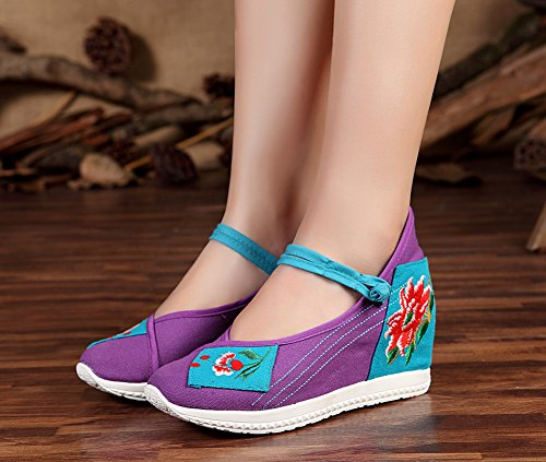 Shoes Chinese Style Platform AvaCostume Purple Mary Women Embroidery Collage Jane wqHxxa857E