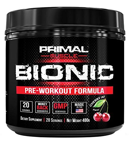 - Primal Muscle Bionic Pre Workout Powder for Women and Men - High Performance, High Intensity Dietary Supplement - Improve Strength, Power, Focus, Weight Loss - Cherry Flavor