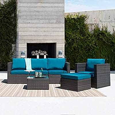 Amazon.com: Supernova muebles de patio sofá seccional 6 ...