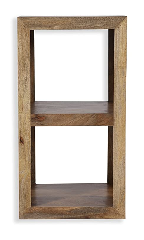 Cube Petite Chunky Solid Mango Wood Double Cube Two Holes (Oaklands  Furniture)