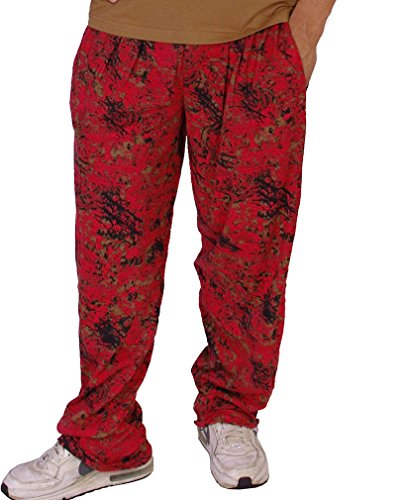 - Crazee Wear Baggy Gym Pants Red Burnout Baggies