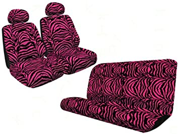 Pleasing Safari Animal Print Universal Fit Bench Seat Cover And Set Of 2 Low Back Bucket Seat Covers With Separate Head Rests Hot Pink Zebra Ibusinesslaw Wood Chair Design Ideas Ibusinesslaworg