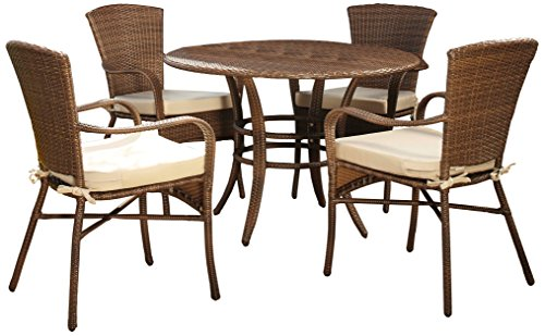 - Panama Jack PJO-7001-ATQ-5PC Key Biscayne 5 Piece Dining Set with Cushions, Sunbrella Dolce Oasis