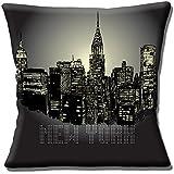 Horizon de New York Nuit NYC America USA Housse de coussin Oreiller de voyage–Noir–40,6cm (40cm)