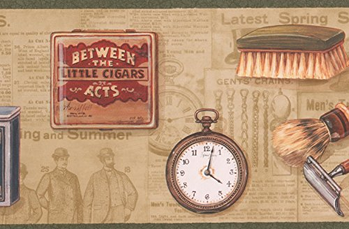 Wall Pockets Blue Peel - Retro Men Razor Shave Brush Pocket Watch Shoe Brush Pipe Cigar Box Vintage Wallpaper Border Traditional Design, Roll 15' x 6.75''