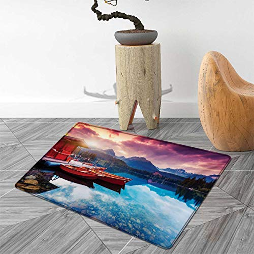 Landscape Bath Mats for Bathroom Peaceful Mountain Lake with Majestic Sky and Mountains South Asia Romantic View Door Mats for Inside Non Slip Backing 4'x6' Multicolor ()