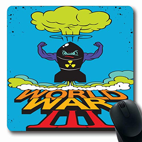 Ahawoso Mousepad Oblong 7.9x9.8 Inches Graphic Abstract Atomic Bomb Mushroom Cloud Drawing 3Rd Angry Apocalypse Armageddon Army Atom Design Office Computer Laptop Notebook Mouse Pad,Non-Slip Rubber