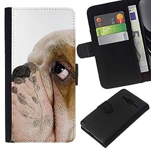 English Bulldog British Breed Dog Puppy - la tarjeta de Crédito Slots PU Funda de cuero Monedero caso cubierta de piel Samsung Galaxy Core Prime