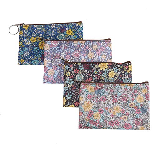 Billfold Pattern - Monrocco 4 Pieces Women Vintage PU Leather Coin Purse Waterproof Travel Makeup Bag with Flowers Patterns Zipper Wallet Pouch