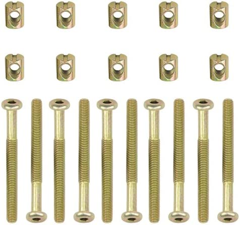 TOVOT Hex Socket Head Cap Screws Bolts Furniture Bolt w Threaded M 6 x 65 MM Barrel Nuts Cross Dowel Slotted Furniture Nut for Beds Crib Chairs