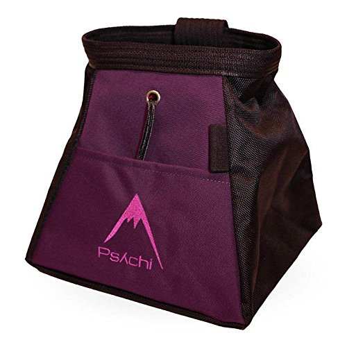 Psychi Chalk Bouldering Bucket Stand Bag for Rock Climbing with Front and Rear Zip Storage (Purple)