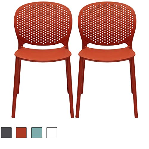 2xhome Set of 2 Dark Orange Contemporary Modern Stackable Assembled Plastic Chair Molded with Back Armless Side Matte for Dining Room Living Designer Outdoor Garden Patio Balcony Office Desk -
