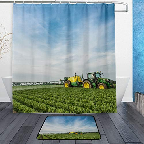 YOHHOY Bathroom Shower Curtain Set with Bath Mats Rugs - John Deere Waterproof Polyester Fabric Decorative Bathroom Bath Curtains