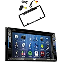 JVC KW-V130BT Double DIN Bluetooth In-Dash DVD/CD/AM/FM Car Stereo Receiver w/Touchscreen with Pyle PLCM16BP Car License Plate Frame Rear View Backup Camera