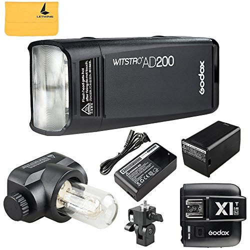 GODOX AD200 TTL 2.4G HSS 1/8000s Pocket Flash Light Double Head 200Ws with 2900mAh Lithium Battery Flashlight Flash Lightning+GODOX X1T-N TTL 2.4 G Wireless Flash Trigger Transmitter For Nikon Cameras by Godox