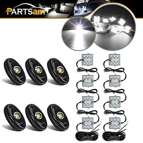 6PCS 6 Pods LED Rock Light Kits White + LED Truck Bed Light 8pods White LED Kit Waterproof Compatible with Jeep TJ JK, Ford F150 F250 Truck Pickup Cargo Trailer RVs Boat TV UTV RZR, Yamaha Viking