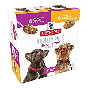 Hill's Science Diet Adult Small & Toy Savory Stew Dog Food Tray Variety Pack, 3.5oz, 12-pack