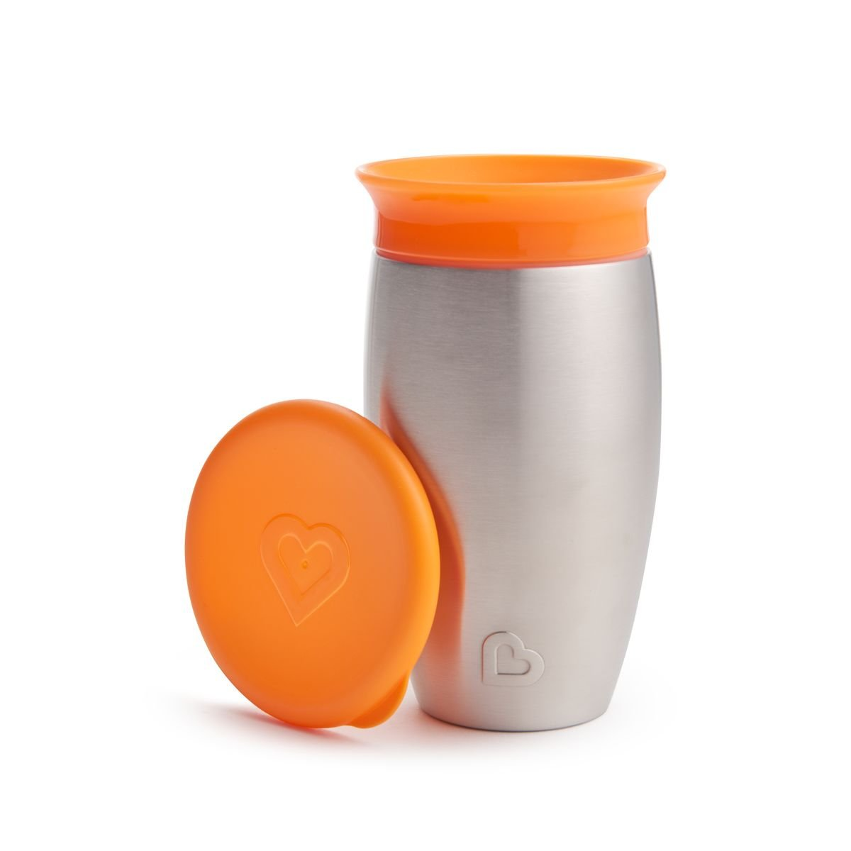 Orange Edelstahl//orange Munchkin Miracle 360ᵒ Edelstahl-Trinkbecher 296 ml