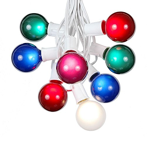 G50 Patio String Lights with 25 Multi Globe Bulbs - Wedding Outdoor String Lights - Market Bistro Caf