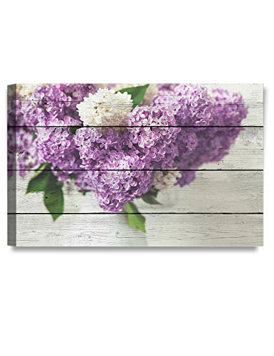 DecorArts - Canvas Prints Wall Art - Fresh lilac flowers on Vintage wooden background .Giclee Print on Canvas for Wall Decor. 30X20x1.5