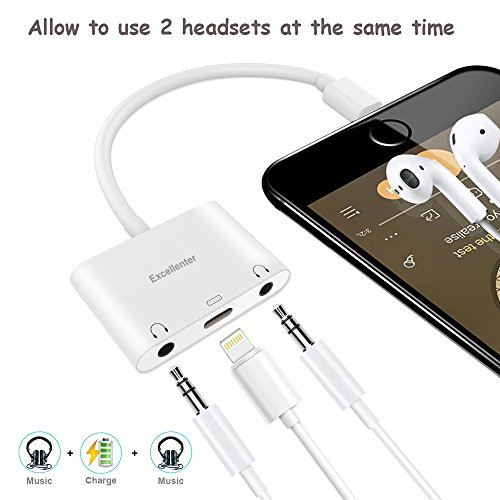 Excellenter Compatible Splitter & Adapter Replacement for IP X / 8/8 Plus / 7/7 Plus, 3.5 mm Aux Audio Headphone Jack Adapter Dual 8 Pin Music Charge Cable Charger Connector