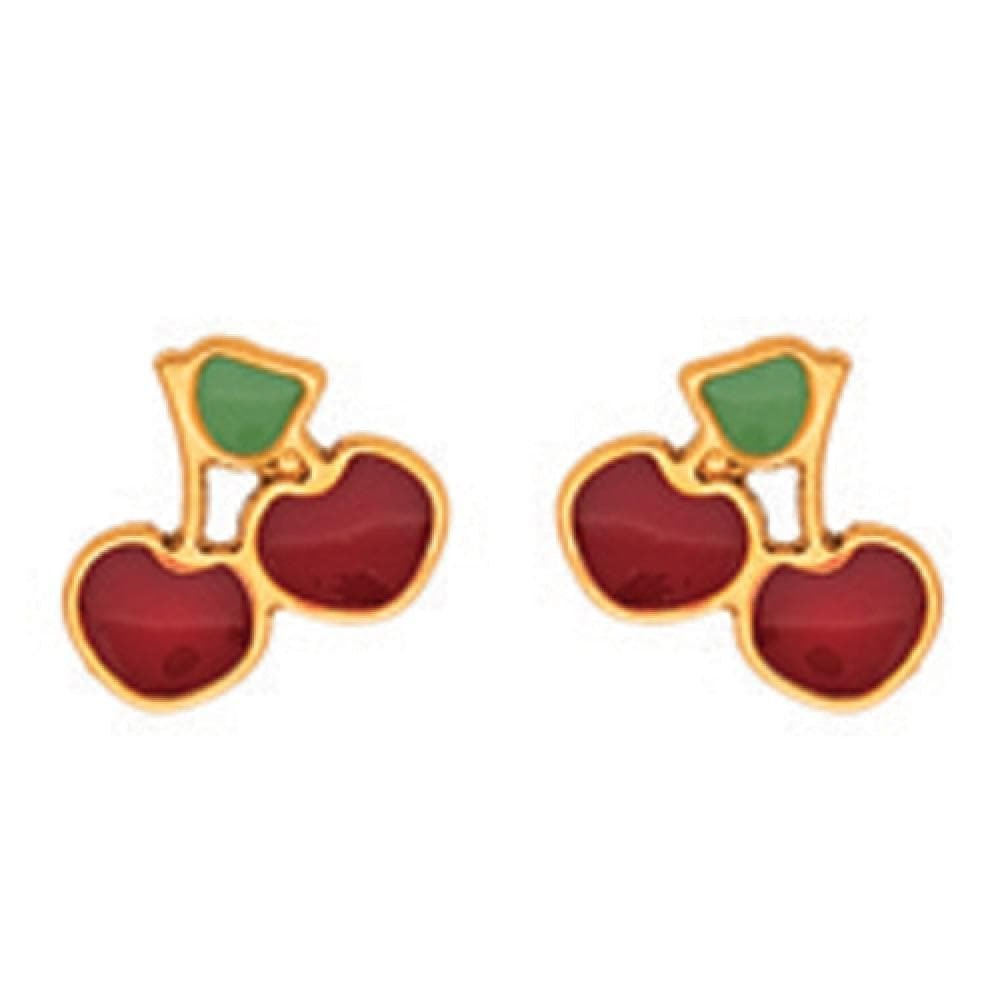 Red and Green Cherry Stud Earrings 18k Yellow Gold So Chic Jewels