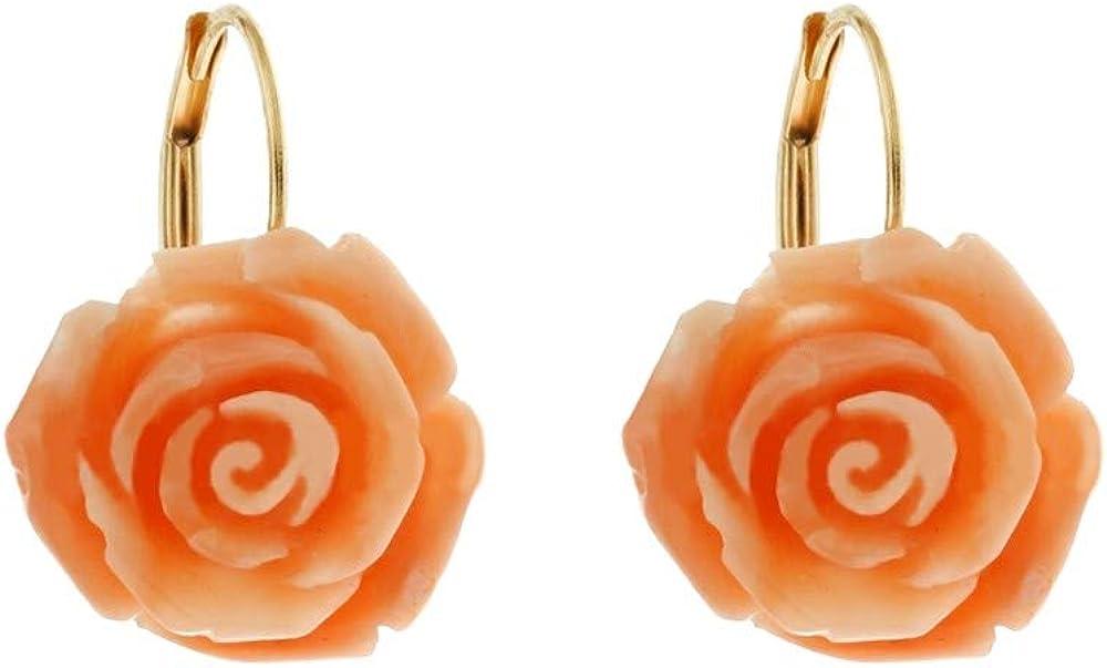 pendientes con forma de Rosa en Coral auténtico con Cierre con monachina de Oro Amarillo De 18K 750/1000