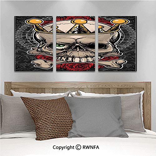 3Pc Creative Wall Stickers Skull with Crown Roses