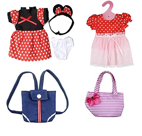 DENA Toys Cute Mickey Mouse Dress & Accessories 6-Piece Fits American Girl Doll ()