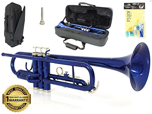 D'Luca 500BL 500 Series Standard Bb Trumpet with Professional Case, Cleaning Kit, Blue