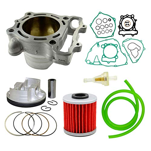 Piston Kit & Oil Filter & Fuel Filter & 40cm Oil Tube Set 77mm Bore for Kawasaki KXF250 2009-2016 ()
