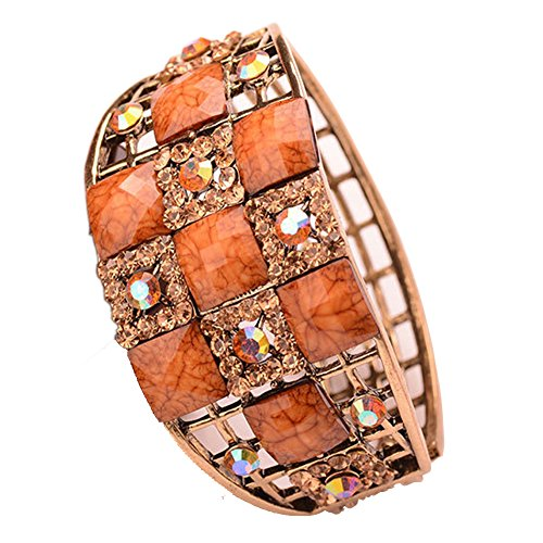Enamel Multicolor Luxurious Rose Reto Bangle Bracelet with Natural Crystals Fantasy Jewelry For Women Girls