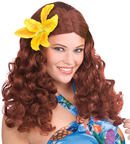 [Forum Novelties Women's Hawaiian Wig, Auburn, One Size] (Hawaiian Costumes For Adults)