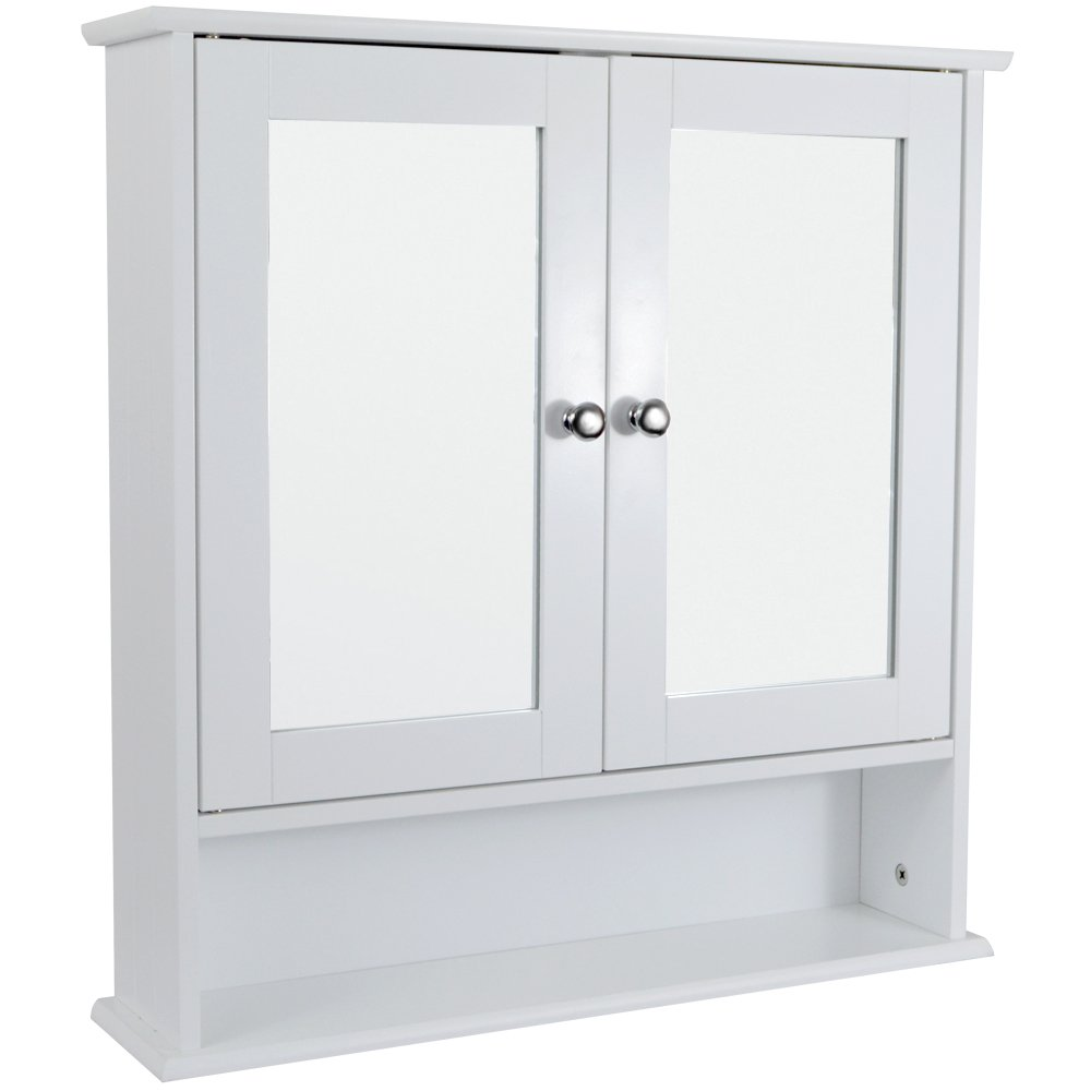 Bath Vida Double Door Bathroom Cabinet, Wood, White Lassic 333374