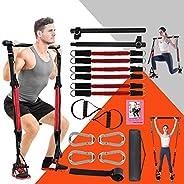 KIKIGOAL Upgraded Adjustable Pilates Resistance Band and Toning Bar 60IBS-180IBS Home Gym, Portable Pilates To