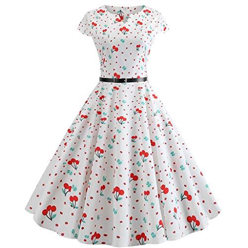 (GOWOM Women Vintage 1950s Retro Short Sleeve V-Neck Printing Party Prom Swing Dress(White,XX-Large))