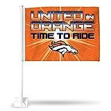 NFL Denver Broncos Time to Ride Car Flag, Orange, with White Pole