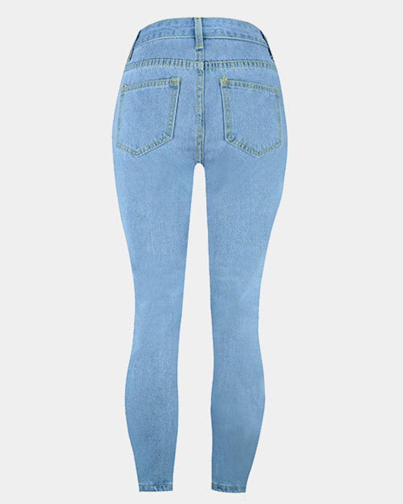 Mujeres Stretch Denim Pantalones Vaqueros Rasgados Skinny ...