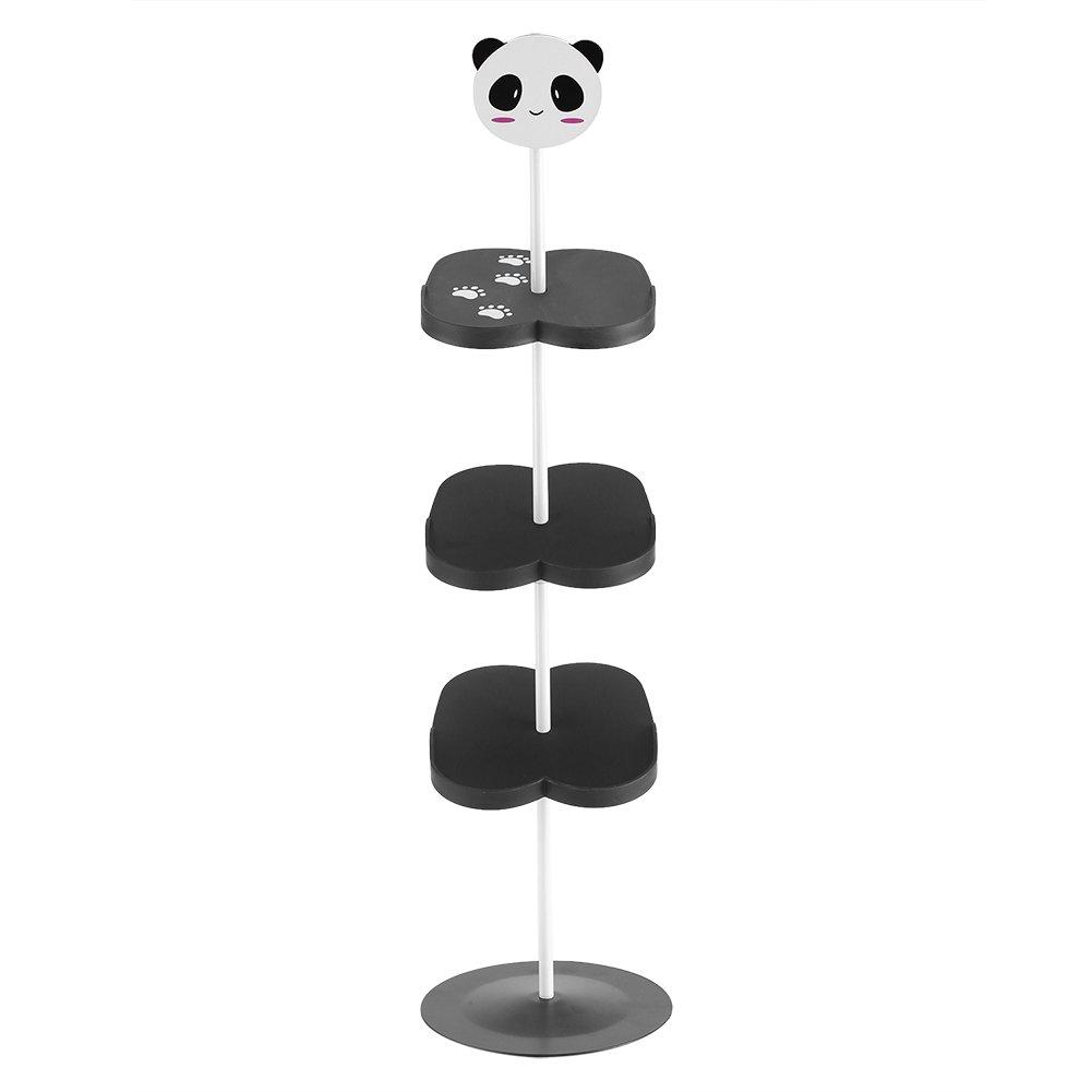 Kid Shoes Rack, 4 layers Cartoon Animal Pattern Shoes Shelf Portable for Space Saving(Black Panda) Zerodis