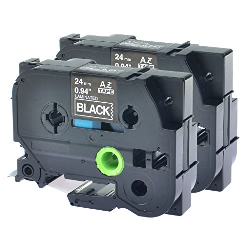 Nineleaf Compatible Laminated Label Tape Labeling Cassette For Brother P-touch TZe355 TZ-355 TZe-355 TZ355 TZe TZ 355 PT2430PC PT-P700 PT-P750W PT2430PC White on Black 24 mm x 8 m 1 26.2ft 2 PK