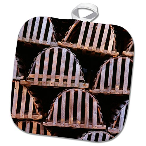 - 3dRose Danita Delimont - Patterns - Canada, Newfoundland, Trout River, Tidy stack of wooden lobster traps. - 8x8 Potholder (phl_257520_1)