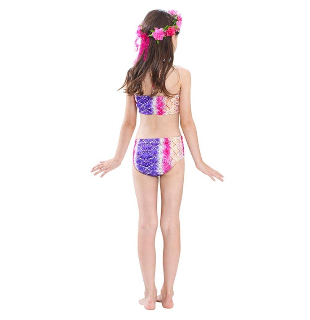 DecStore 4PCS Traje de ba/ño de Las Muchachas Traje de ba/ño de Cola de Sirena Conjunto de Bikini Traje para Nadar con Monofin