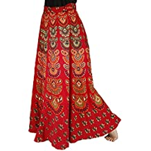 Store Indya 100% Cotton Warp Around Skirts Bohemian Style Adjustable Mandala Print Casual Wear For Women