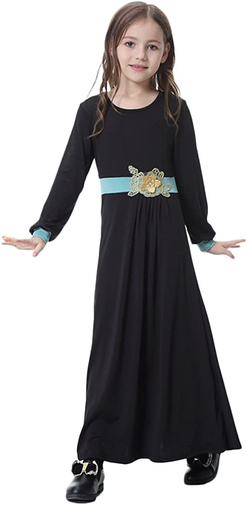 OwlFay Muslim Islamic Girls Long Sleeve Flower Applique Full Length Abaya Kaftan Dress