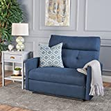 Hana Plush Cushion Tufted Back Loveseat Recliner (Fabric/Navy Blue)