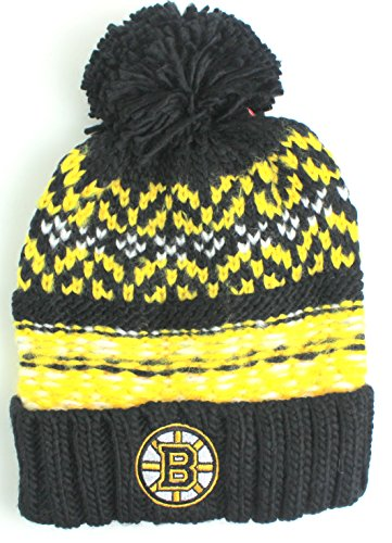 NHL American Needle Gusto Cuffed Pom Beanie Knit Hat (Boston Bruins)