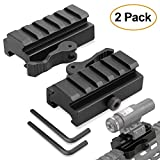 Picatinny Riser Mount, GUNPOW 2 Pack Low Profile Rail Riser Mount Adaptor with 5-Slot Picatinny Rails, QD Quick Release Lever Lock, Allen Wrenchs, For AR15 Rifle Red Dot Sight Scope Optic,1/2''Hx2.5''L