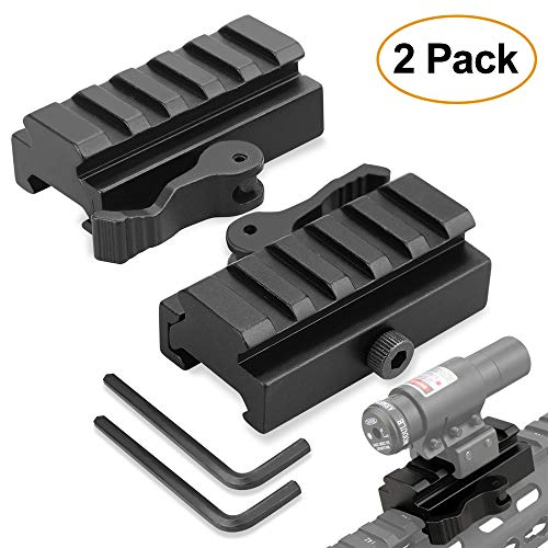 Rail Mount Riser (Picatinny Riser Mount, GUNPOW 2 Pack Low Profile Rail Riser Mount Adaptor with 5-Slot Picatinny Rails, QD Quick Release Lever Lock, Allen Wrenchs, For AR15 Rifle Red Dot Sight Scope Optic,1/2