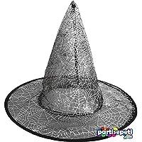 Cadılar Bayramı Halloween Örümcek Ağ Desenli Çift Taraflı Cadı Şapkası 1 Adet 30 cm