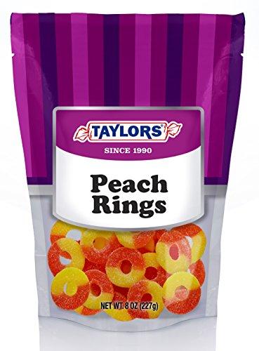 Taylors Gummi Peach Rings 5 / 8 oz re-closeable bags